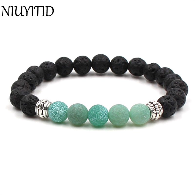 NIUYITID Multi- style 8mm Natural Stone Beads Bracelet Men Women Natural Lava Stone Charms Diffuser Braclet Jewelry For Unisex