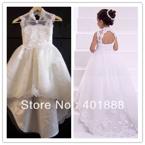 Cap Sleeve White Lace Lique With Long Trail Backless Flower Dress