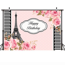 Mehofoto Birthday Party Theme Background Pink Flowers White and Black Stripes Background for Photography Eiffel Tower