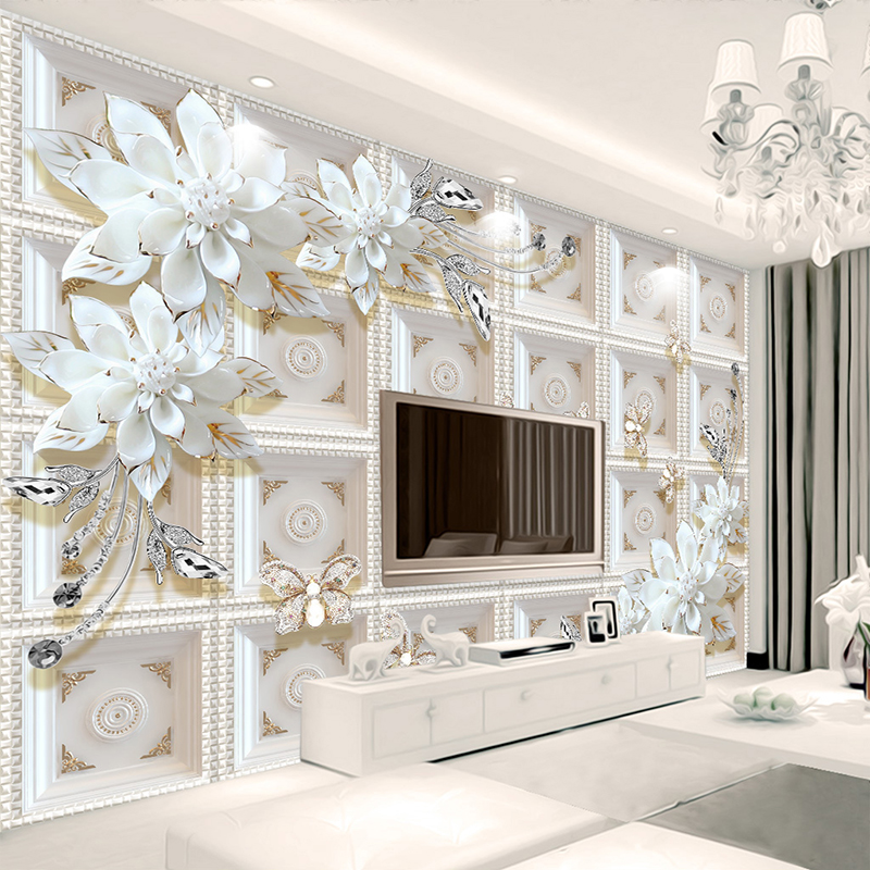 Custom 3D Wall Murals Wallpaper Wall Painting Stereoscopic Relief Jewelry Flowers 3D Living Room TV Backdrop Mural De Parede 3D(China)