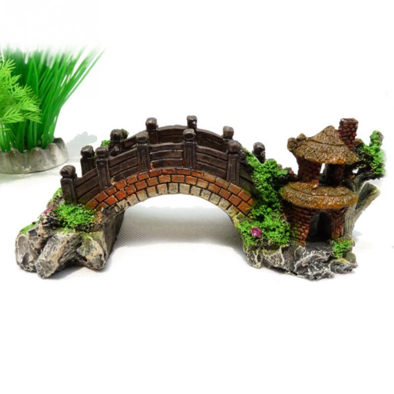 Professional Sale Resin Antique Arch Bridge Aquarium Landscape Decorations Decor For Fish Ornament Fish & Aquariums