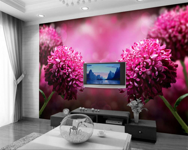 Beibehang 3d Wallpaper Dream Purple Flower Flower TV Background Home ...