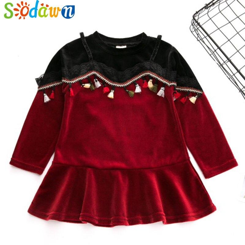 Sodawn Autumn New 2017 Fashion Girl Clothes Long Sleeves Tassel Design Stitching Princess Dress Baby Girls Dress Kids Clothing