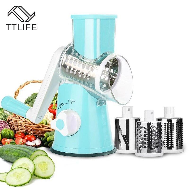 TTLIFE Multifonction Légumes Cutter kitch 3 Inoxydable Lame Râpe Ronde Mandoline Trancheuse De Pommes De Terre Trancheuse de Cuisine Gadgets