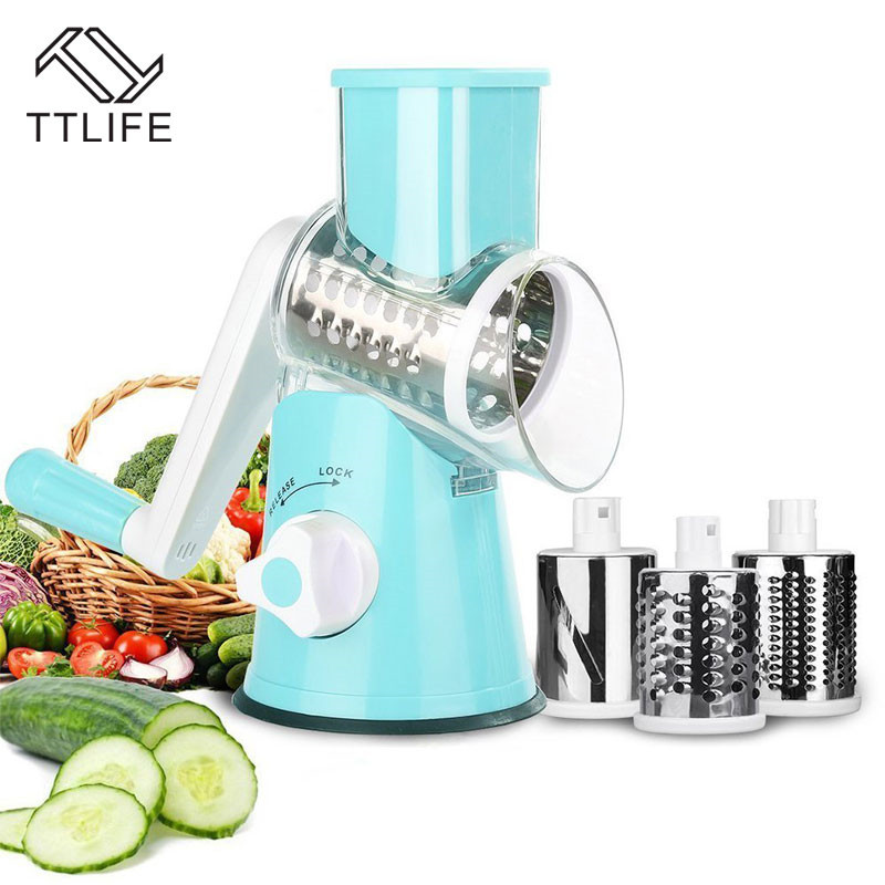TTLIFE Multifunktions Gemüse Cutter kitch 3 Edelstahl Klinge Reibe Runde Mandoline Slicer Kartoffel Slicer Küche Gadgets