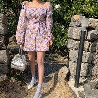 RUGOD 2019 Floral print women dress mini off shoulder slash neck elegant vintage bohemian dress modis femme sukienki vestido