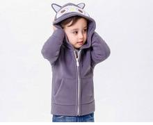 2-6Y Cute Hooded Jacket Boys Coats Kids Fleece Full Sleeve Solid Boys And Girls Cardigan Children Clothing Outwear KW-1635-4