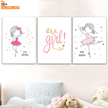 Pink Ballerina Girl Quote Nursery Wall Art Canvas Painting Cartoon Nordic Posters And Prints Wall Pictures Girl Kids Room Decor baby girl room decor nordic cartoon pictures for kids room posters and prints nursery simple quote cat wall art canvas painting