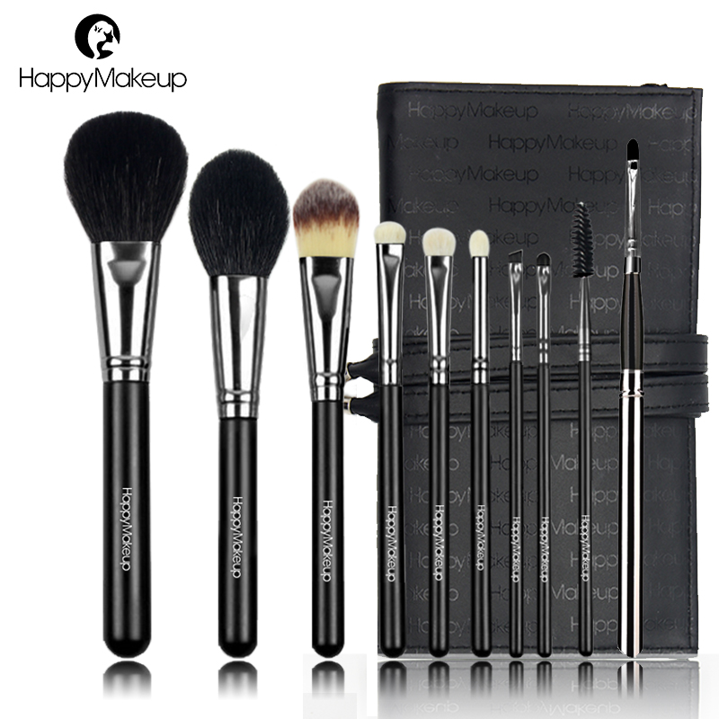 HAPPY MAKEUP 10pcs Professional Makeup Brushes Set Natural Goat Hair Copper Powder Foundation Eyeshadow Lip Brush Kit Pouch Bag fashion 10pcs professional makeup powder foundation blush eyeshadow brushes sponge puff 15 color cosmetic concealer palette