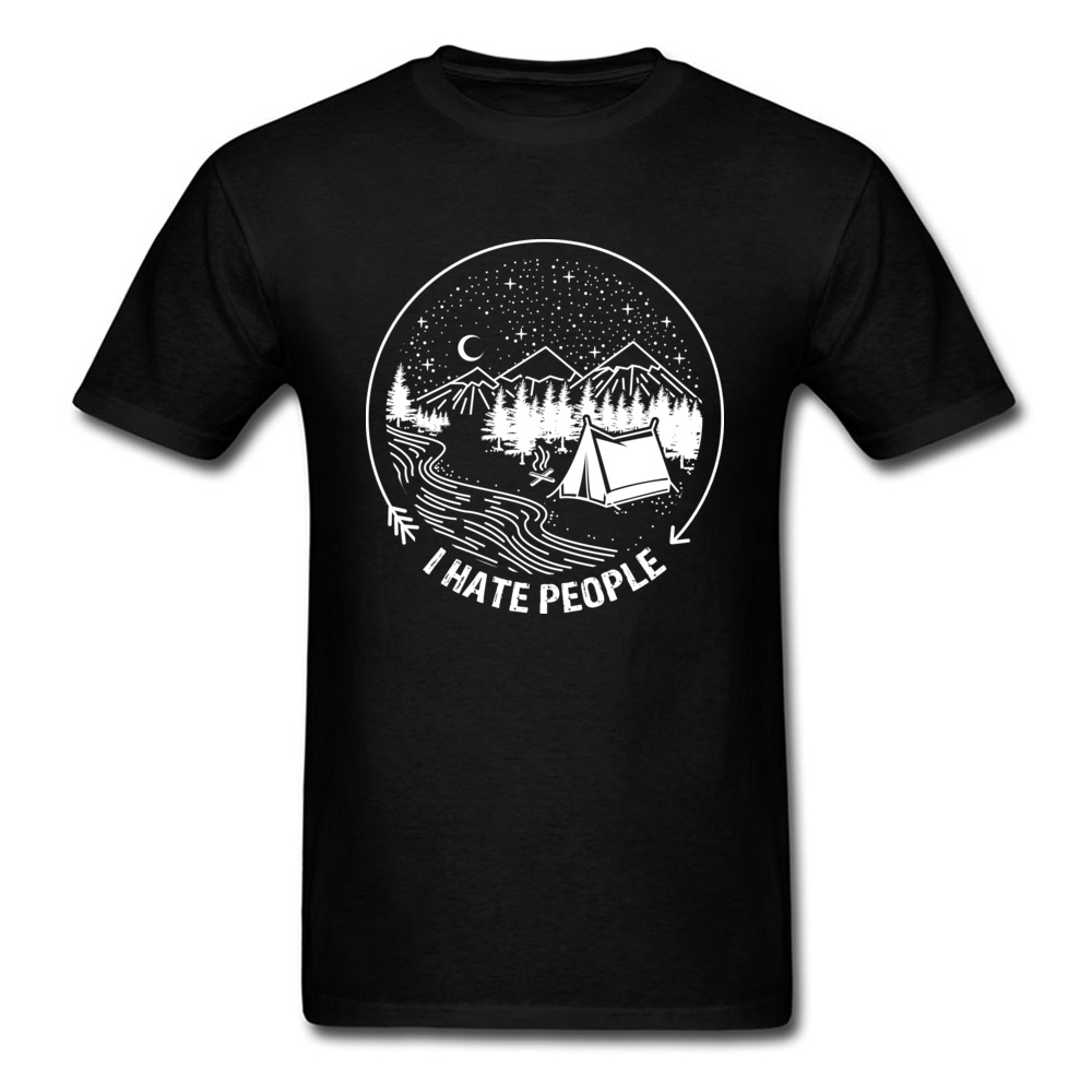 I Hate People T-shirt For Man Funny Campers T Shirt Mens Black Tshirt Simple Style Holiday Clothes Cotton Tops Tees Oversized