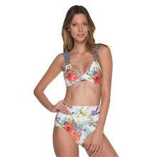 0d4a7d080ac4 2019 nuevo modelo de las mujeres Sexy Bikini blanco y flor femenino traje  de dos piezas traje de baño de cintura alta