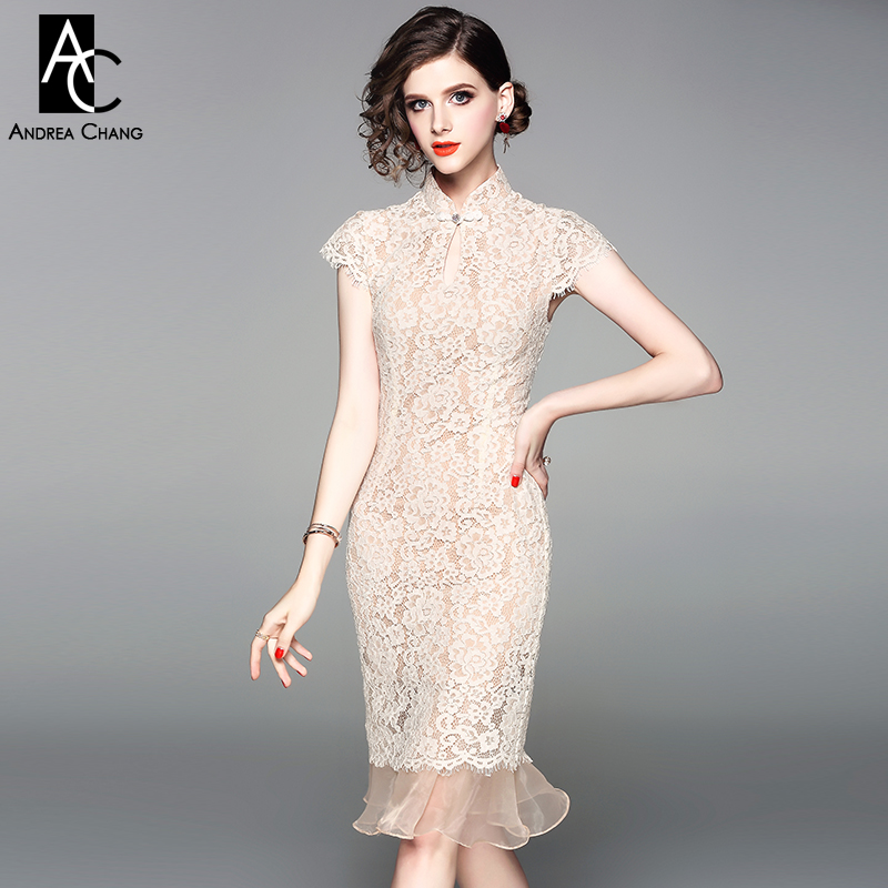 Us 4992 20 Offspring Summer Woman Dress Floral Pattern Beige Lace Dress Ruffled Gauze Bottom Mandarin Collar Knee Length Slim Mermaid Dress In