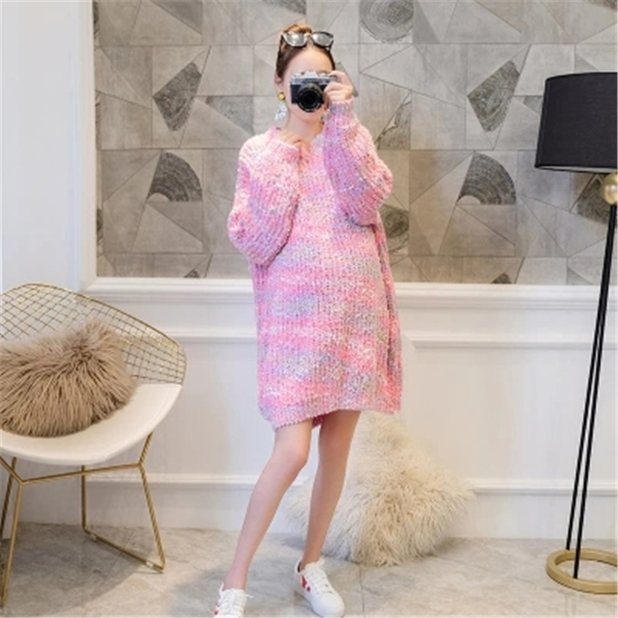 Maternity Dress For Pregnant Women Autumn Winter Maternity Clothes Pink Green Pregnancy Clothing for Pregnant Women New 70R0185 fashion autumn winter maternity sweaters loose clothes for pregnant women pregnancy pullovers dress maternity clothing