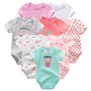Image 2 - 8 шт./лот; Детские комбинезоны с короткими рукавами; Комбинезоны из 100% хлопка; Одежда для новорожденных; Roupas de bebe; Комбинезон и одежда для мальчиков и девочек