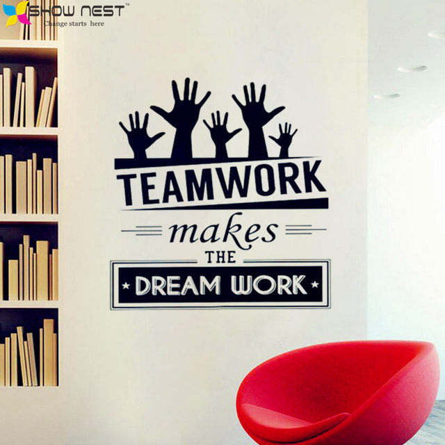 Office Wall Stickers Vinyl Decal Art Mural Decor Sticker Teamwork Makes The Dream Work Quotes