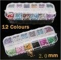 10 Unidades 12 colores ronda rhinestone de acrílico perfect para clavo 3d decoración arte dia. 1.5-2mm
