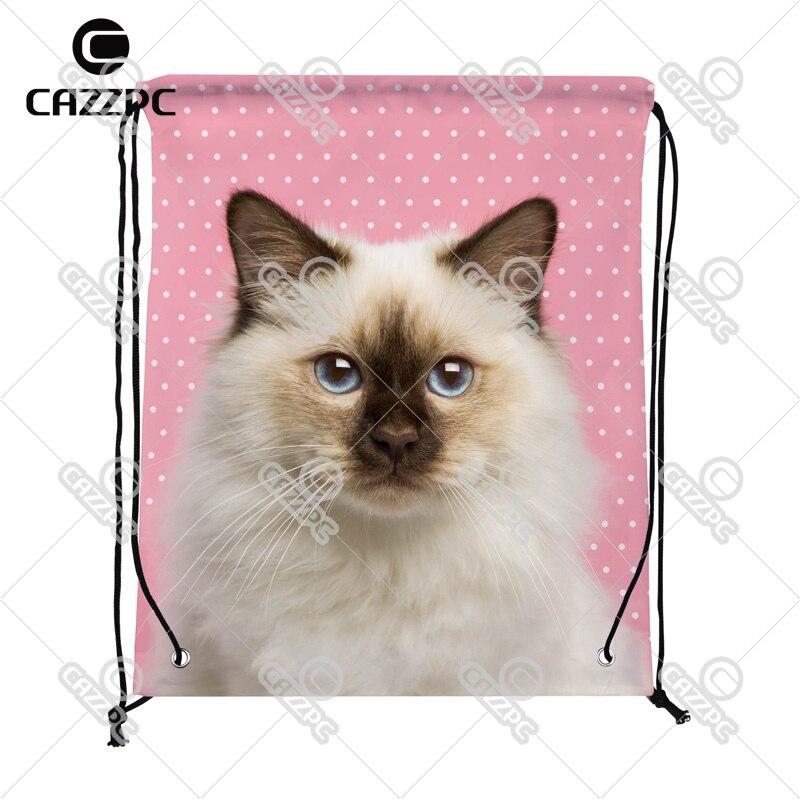 100% Wahr Nette Katze Rosa Dot Print Benutzerdefinierte Individuelle Nylon Stoff Kordelzug Rucksack Geschenk Tasche Delikatessen Von Allen Geliebt