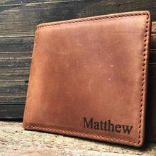 Personalized names Mens Wallet Leather Groomsmen husband Valentine's father's da