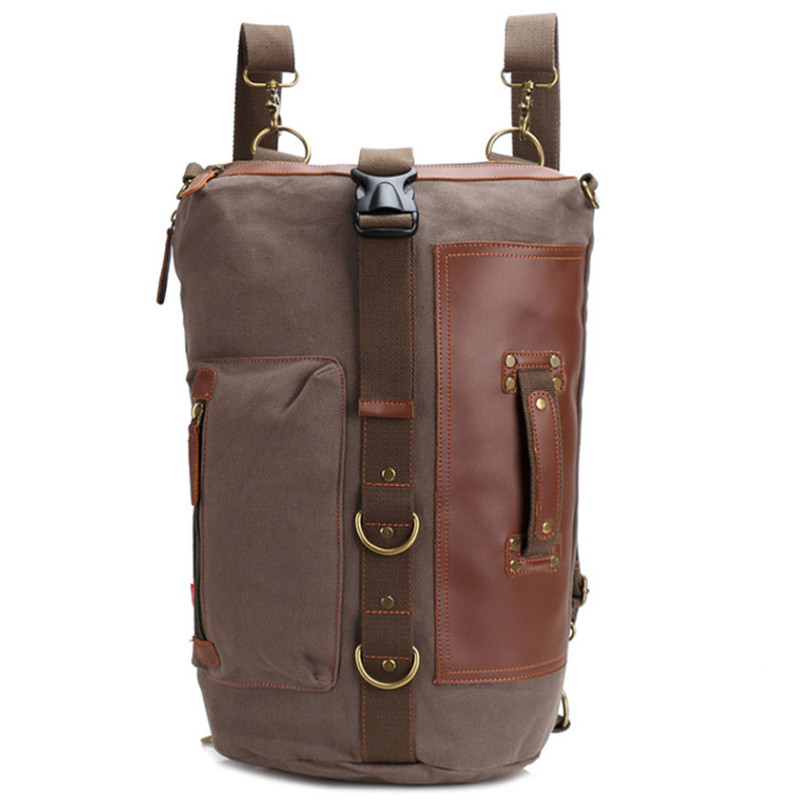 Canvas Backpack large Travel Bag Multifunctional Mountaineering Casual Vintage Outside  Crossbody School Bags Cylindrical pack часы наручные casio часы g shock ga 800 1a