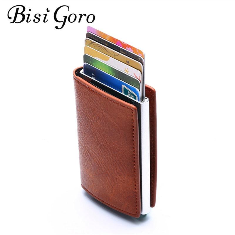 Bisi Goro New Single Box Card Holder Crazy Horse Pu Leather Card Wallet Rfid Blocking Aluminum Smart Multifunction Slim Wallet