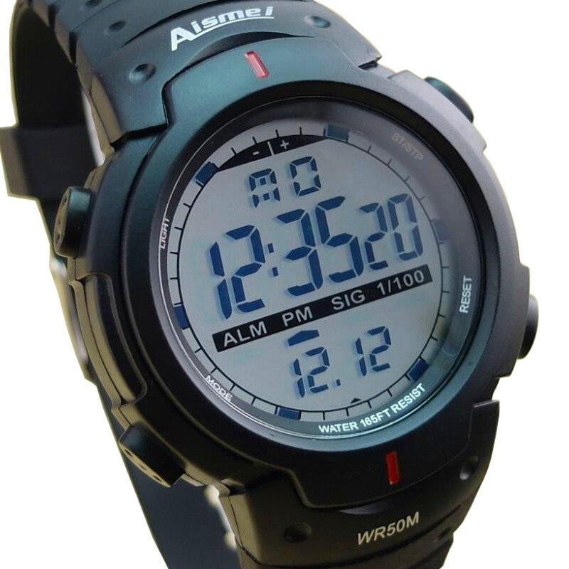 Marca Homem Aismei relógios desportivos 50M Homens LED Relógio Digital à prova d' água Relogio masculino Moda Casual militar Do Exército relógio de Pulso