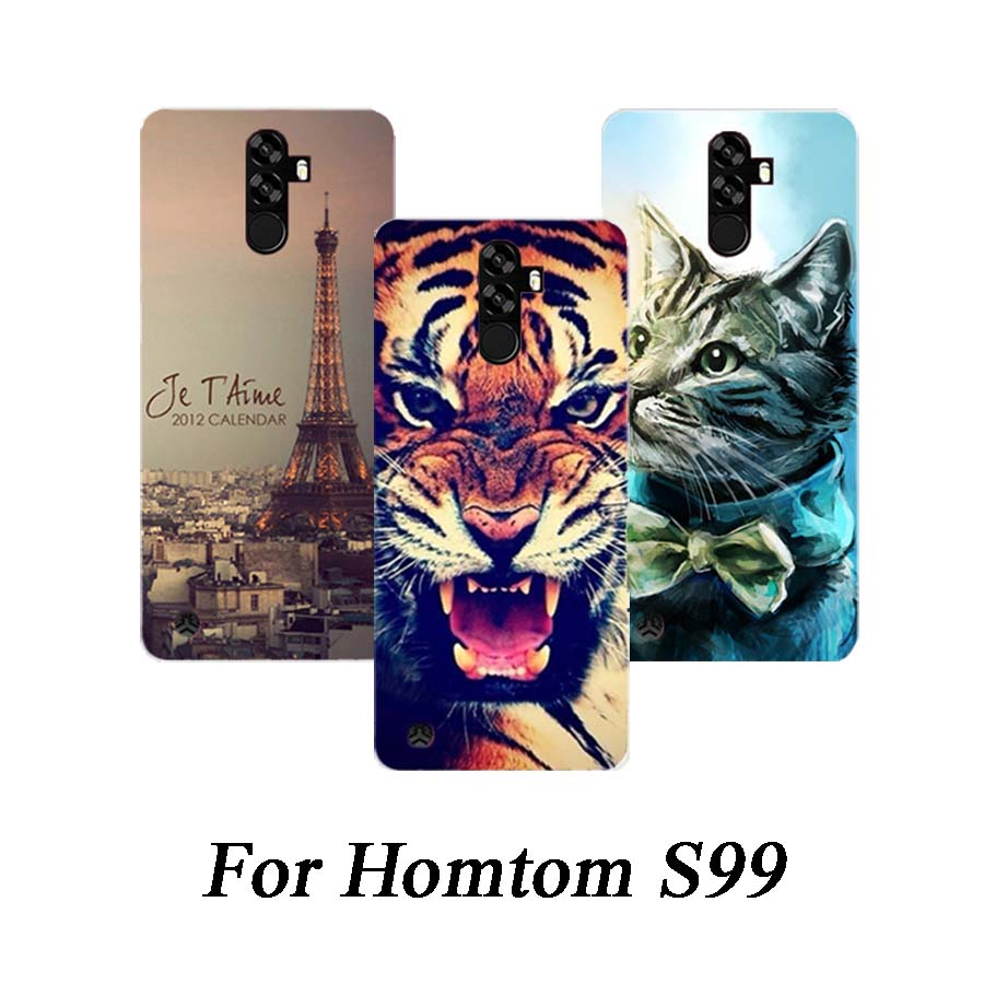 Soft Tpu Phone Case For Homtom S99 Cases Silicone Painted Wolf Rose Cat Eiffel Fundas Sheer For Homtom S99 Back Cover(China)