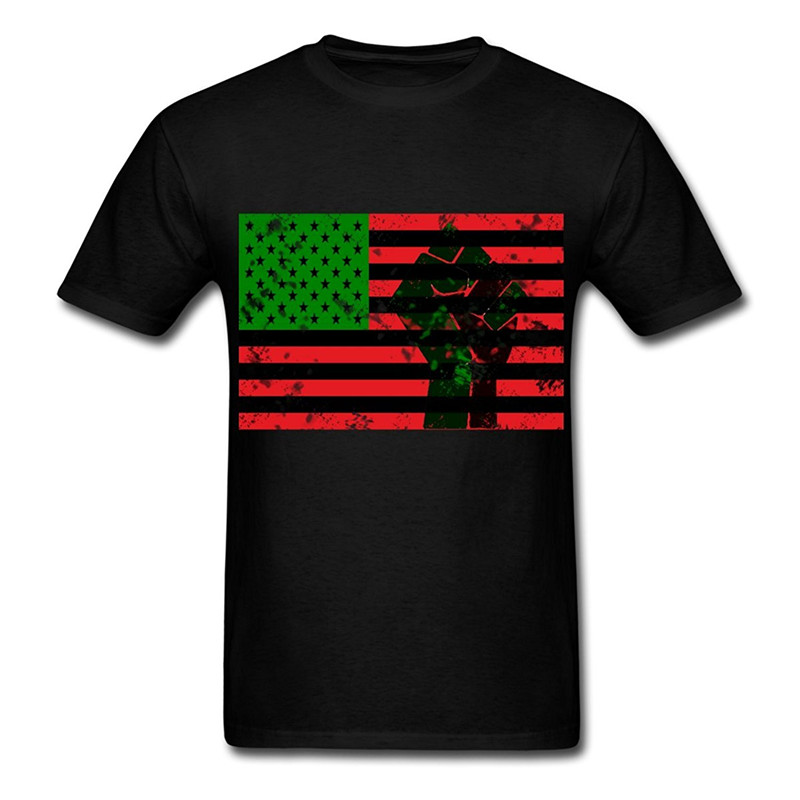 Personalised T Shirts O-Neck Short Pan African Flag With Fist MenS Design Mens T Shirts