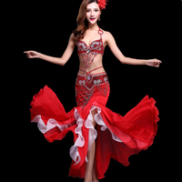 Belly Dance Costume Outfit Set Bra Top Belt Hip Scarf Skirt Dress Stage Performance Oriental