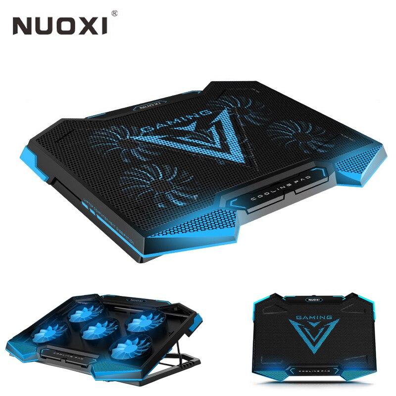 NUOXI refroidisseur d'ordinateur portable 5 LED ventilateurs en Aluminium refroidissement bloc-notes silencieux double USB contrôle de vitesse Base refroidisseur Pad pour 15.6 17 ordinateurs portables