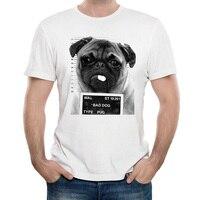 Gildan Yeni Harajuku Pug Hayat Tasarım Erkekler T Gömlek KÖTÜ KÖPEK Pug Polİs bölümü Baskılı T-shirt erkek Rahat yenilik man Tees Tops