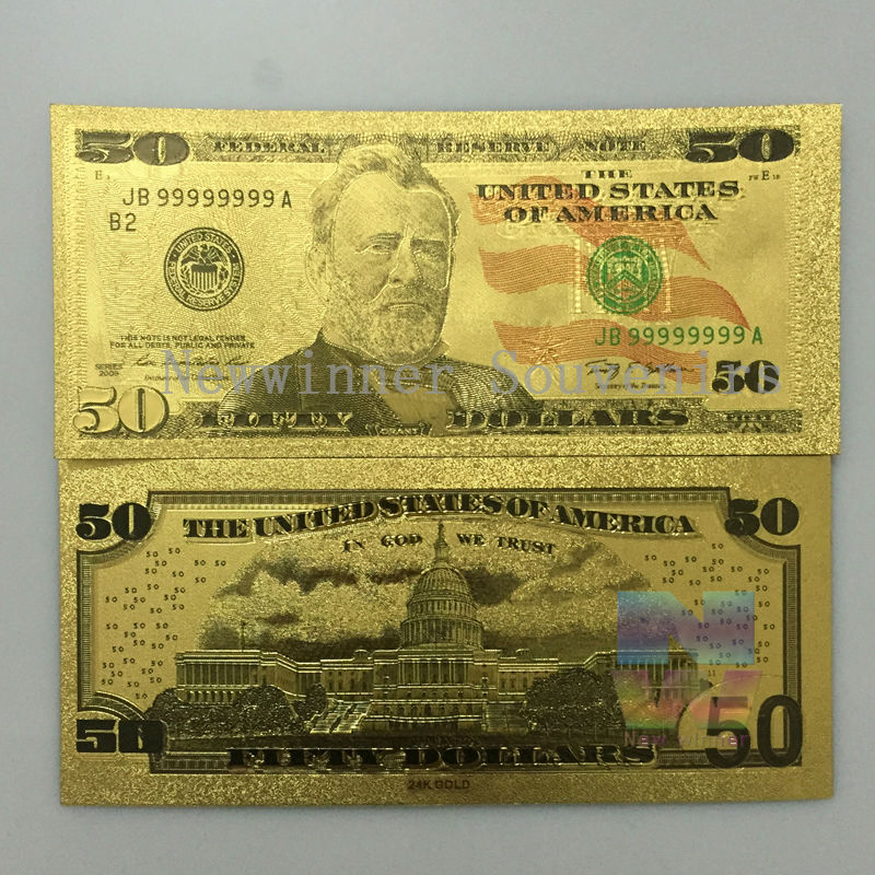 10 Pcs Lot Usa 50 Dollars Bill 24k Gold Foil Banknotes Collection Paper Currency World Money Gifts In From Home Garden On