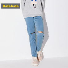 Balabala Girls Destroyed Jeans in Washed Denim Teenage Girl Regular Fit Jeans with Destruction Pull-on Jeans with Raw-edge Hem(China)