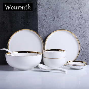 Wourmth Nordic tableware 10 pieces / set Ceramic plate rice bowl creative white color plate soup bowl home porcelain dish set