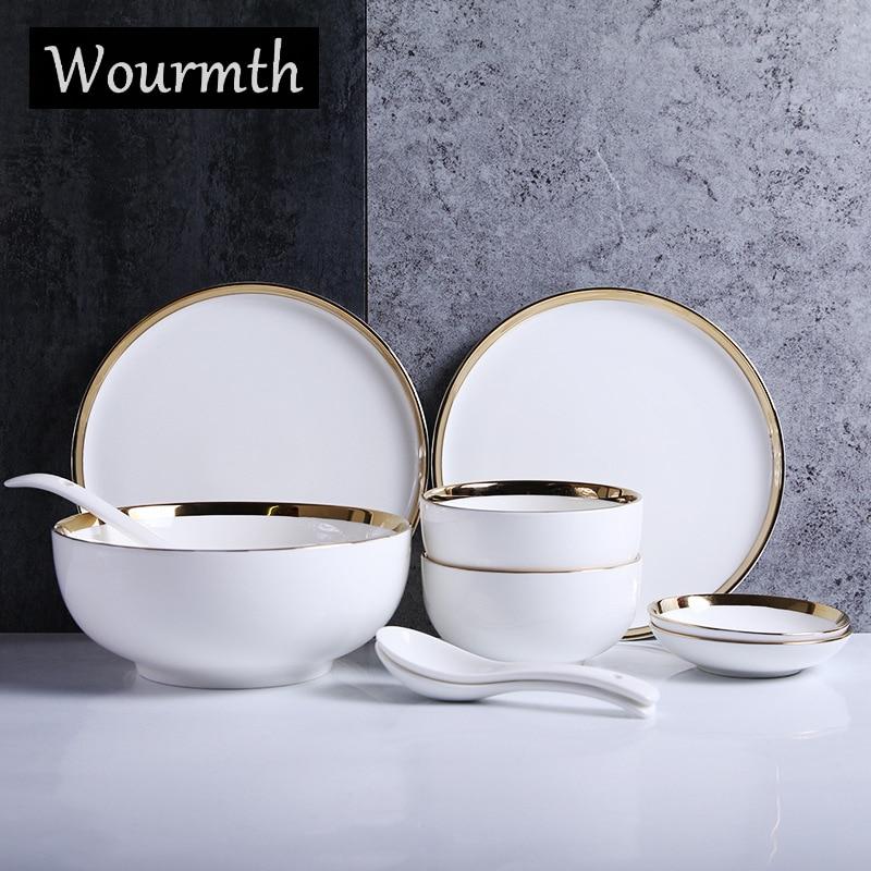 Wourmth assiette en céramique bol de riz | Vaisselle nordique 10 pièces/ensemble assiette de couleur blanche créative bol à soupe service de vaisselle en porcelaine pour la maison