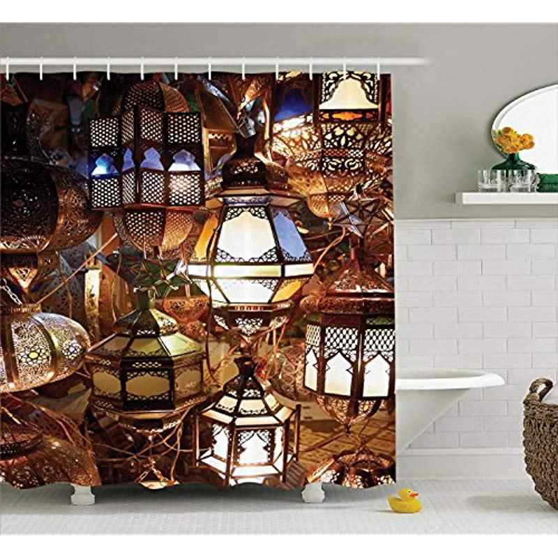 Vixm Moroccan Shower Curtain Arabic Lanterns Souk Evening Culture Historical Traveling Destinations Fabric Bath Curtains