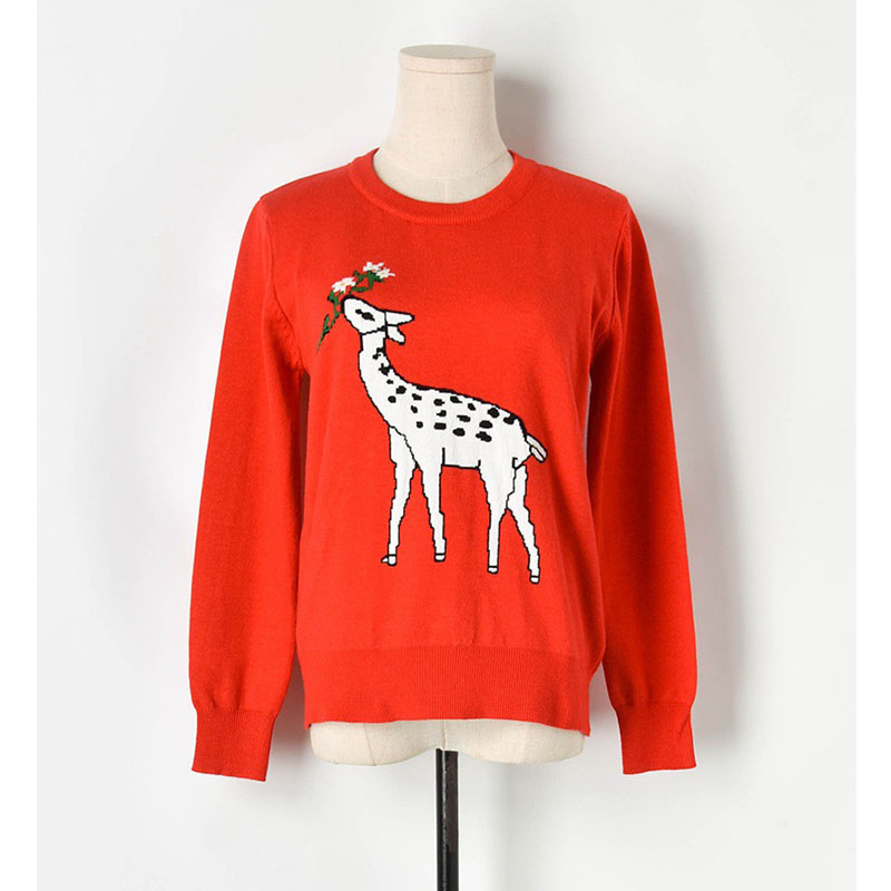 Sweater Women 2019 Autumn Winter Casual Sika deer Jacquard Sweaters Korean Knitted Pullover High Quality Pullovers