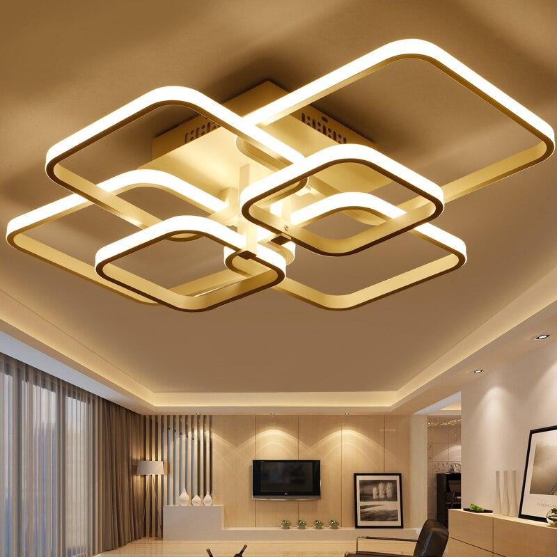 Square frame Modern Led Ceiling Lights For Livingroom Bedroom Lamparas De Techo Aluminum Ceiling Lamp Fixtures luminaria de teto