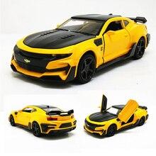 1:32 Chevrolet Camaro, спортивный автомобиль, литая под давлением модель автомобиля, игрушка 5 цветов, оттягивающая назад, мигающая, для детей, на день рождения, рождественские подарки, игрушки