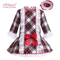 Pettigirl Red And Brown Grid Girl Dress Causal Bontique Autumn Kids Clothing With Headwear Cotton Baby Clothing G-DMGD908-960