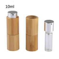 10Pcs 10ml Glass Bamboo Empty Portable Perfume Bottles Atomizer Spray Refillable Glass Bottle Container Spray With