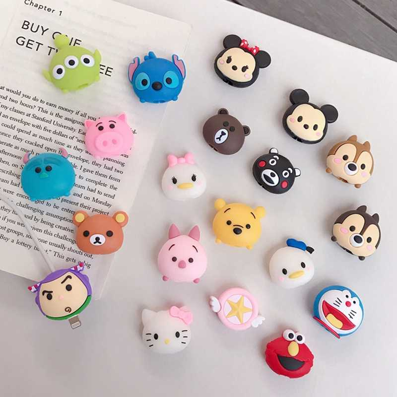 Cute Cartoon Animal Cable Bite Phone Charger Cable Protector Cord Data Line Cover Decorate Smartphone Wire Accessories