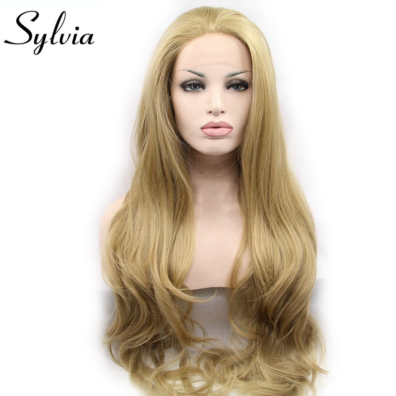 Sylvia Blonde Lace Wigs Long Body Wave Synthetic Lace Front Wigs For Women Heat Resistant Fiber