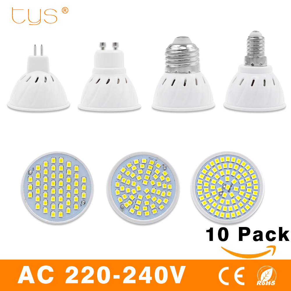10PCS/Lot Led Lamp E27 E14 GU10 MR16 Led Bulb 220V High Bright Bombillas Lampada LED SMD2835 48 60 80LEDs Lampara For Spotlight 1piece lot hot sale led spotlight bulb 3w mr16 gu10 gu5 3 e27 e14 230v free shipping