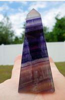 Флюорит башня зеленый фиолетовый обелиск палочка Корона Сердечная чакра Духовной Энергии 70 мм