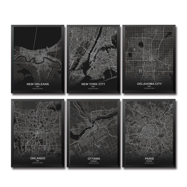 New Orlean New York Oklahoma Orland Ottaw <font><b>Pari</b></font> City Map Living Room Wall Art Picture Home Decor Canvas Painting image