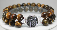 3 rows tiger eye bless bracelet -Top quality free shipping