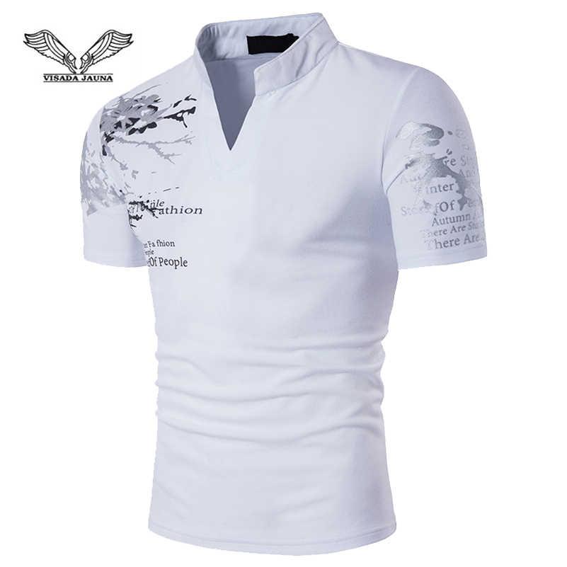 VISADA JAUNA 新メンズヨーロッパスタイルの印刷スタンド襟半袖大サイズ Tシャツサマードレスサイズ S-2XL TLH100