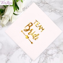 FENGRISE Gold Letter Paper Napkins Wedding Decoration Bride To Be Just Married Napkin Home Supplies