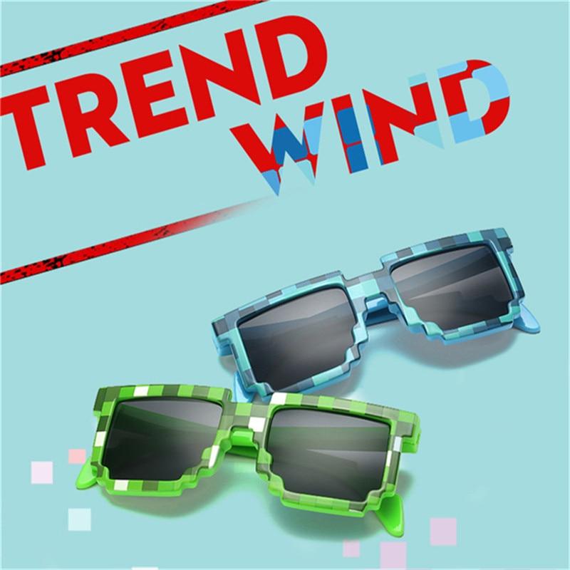 24b7d921bce39 2018 kids Pixel Sunglasses Plaid Square Baby Glasses Children Minecraft Sun  Glasses deal with it boys Brand Designer 001