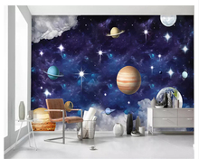 beibehang Senior Decorative Wallpaper Handwritten Scandinavian Galaxy Planet Children s Bedroom Walls 3d wallpaper